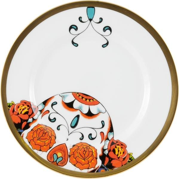 """6"""" Bread Plate taken from the 'Inkhead' range designed by Florian Hutter. Taking inspiration from tattoos and edgy art, 'Inkhead' features a vibrant and bold skull design full of colour and detail. Hand gilded with 22kt Gold, made in Stoke-on-Trent, England. Fine Bone China. 6"""" Plate ideal for snacks or desserts. Find out more here: https://thenewenglish.co.uk/collections/inkhead #TheNewEnglish #Inkhead #Tattoos"""