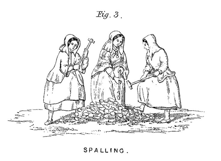 """Jinny [Martin] was a spaller at the mine"" (Ross Poldark, 1, iii, 3). Spalling - breaking up ore using a cobbing hammer. Bal-maiden - a girl who works on the surface of a mine (F.W.P. Jago, The Ancient Language and the Dialect of Cornwall, p. 111). Img: wiki"