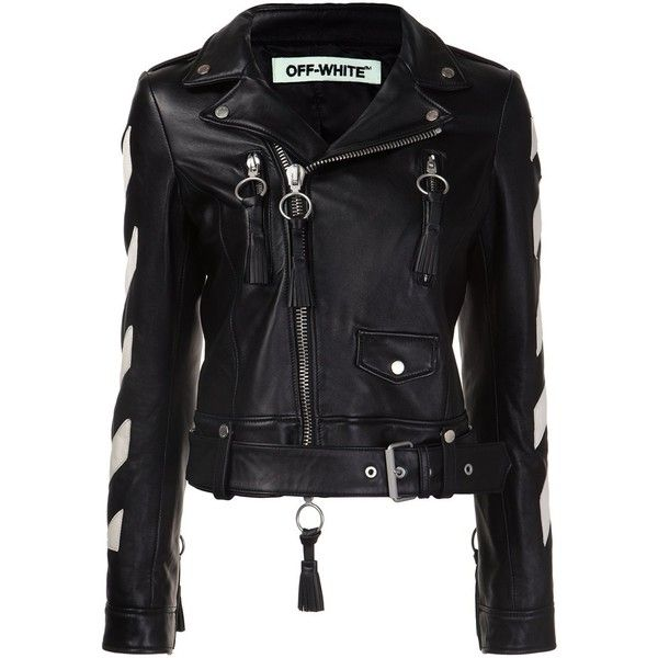 Off-White 'Carryover' biker jacket ($2,475) ❤ liked on Polyvore featuring outerwear, jackets, black, off white jacket, rider jacket, moto jacket, motorcycle jacket and biker jacket
