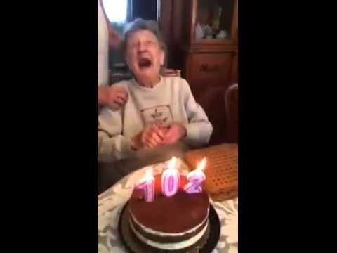 102 years old granny lost her Dental prosthesis while blowing candles