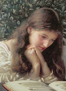 Reading Painting - Idle Tears by Edward Robert Hughes Repinned by Ellery Adams www.elleryadamsmysteries.com