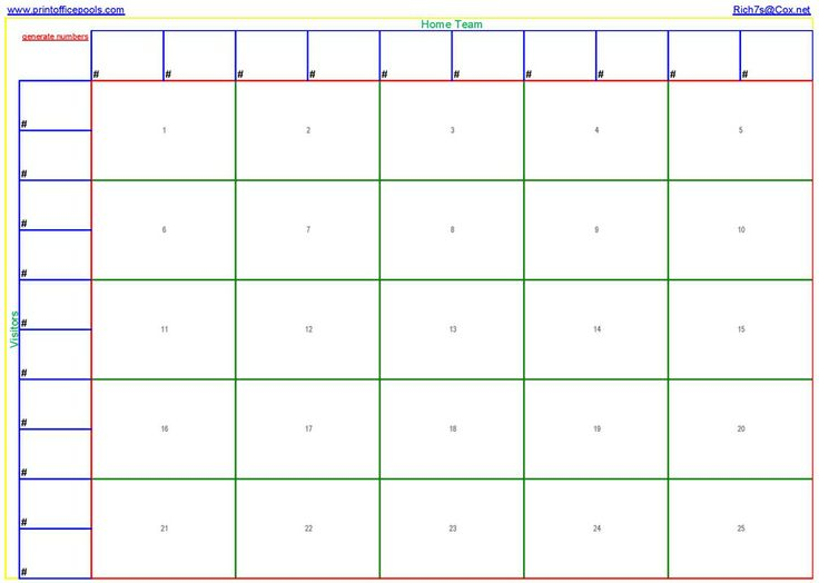 football blocks template - 25 square football pool template printable 25 square