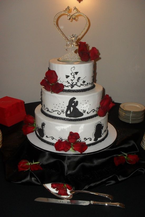 wedding cake beauty and the beast and the beast silhouette cakes 22000