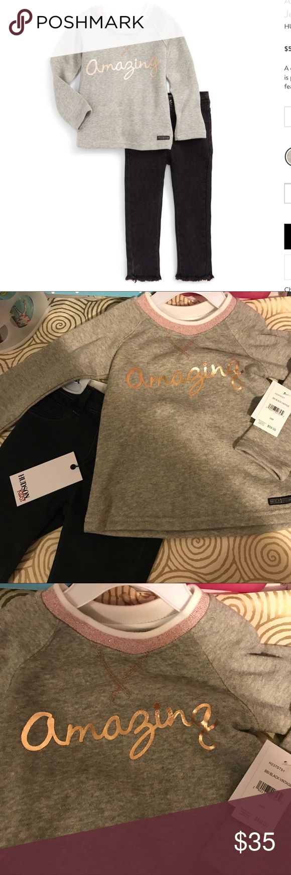 """BNWT 24 Mos Hudson """"Amazing"""" Sweatshirt & Jeans. BNWT 24 Mos Hudson """"Amazing"""" Sweatshirt & Jeans. A cozy French-terry pullover with shimmering details is paired perfectly with stretchy, dark-denim pants featuring frayed hems. First photo courtesy of high end department store, where outfit is still full price! Do a search, then come back and save here! Ask with questions! Designed for girls, but definitely unisex appeal! Hudson Jeans Matching Sets"""
