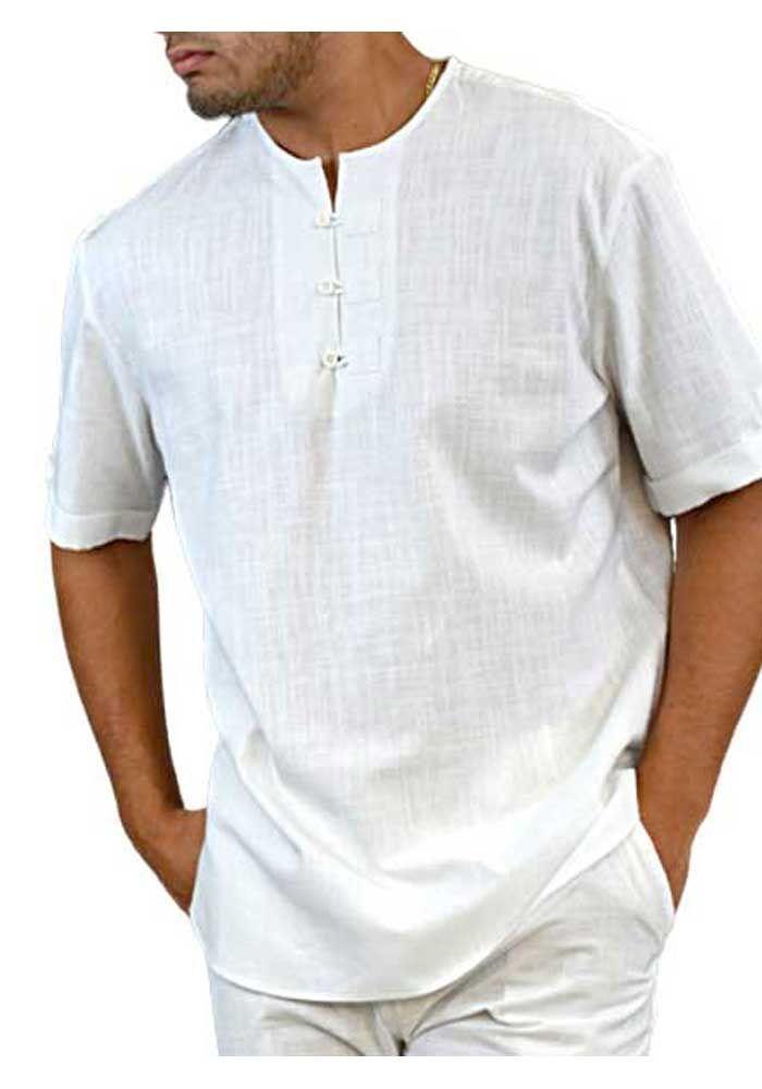 Men/'s Short Sleeve Shirt Colorful Hippy Grandad Shirt Summer Beach Party Tee Top