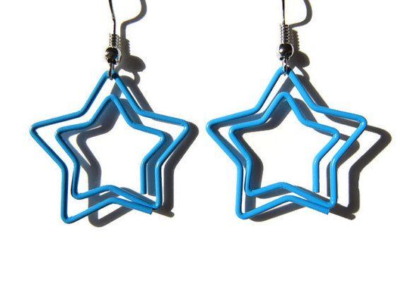 Blue star earrings paper clip earrings blue paper door EraOfCrea