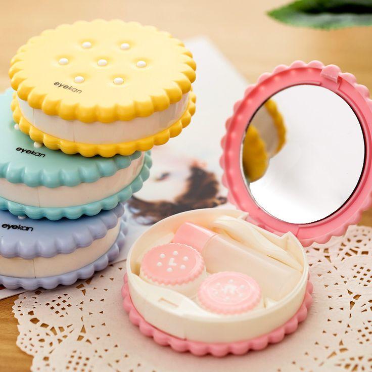 Box de lentes de contato em formato de biscoito