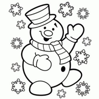 snowman christmas holiday coloring page
