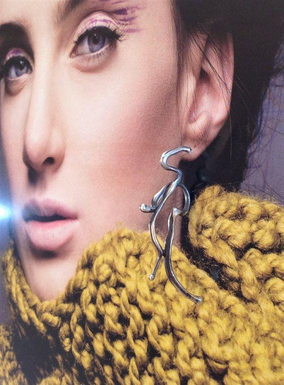 Large Single Earring Long Silver Earring Single by SilverEdit