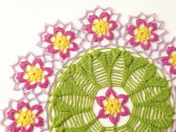 Magenta and purple flower decorative crochet by SunisSerendipity