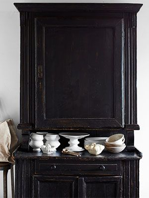 Antique Hutch: Dining Rooms, China Cabinets, Old Dressers, Black And White, Black Cupboards, Paintings Cabinets, Black Cabinets, Black White, Armoires Wardrobes Cupboards