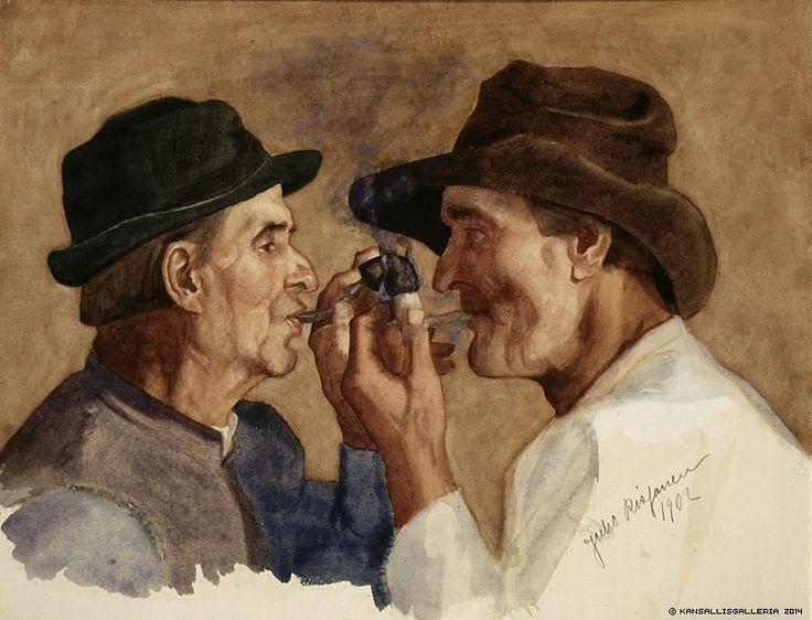 Juho Rissanen (1873-1950) Piipunsytyttäjät / Lighting Pipes 1902 - Finland