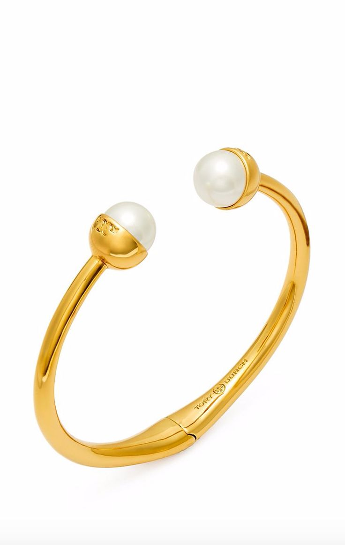 Tory Burch Logo Crystal-Pearl Hinged Bracelet