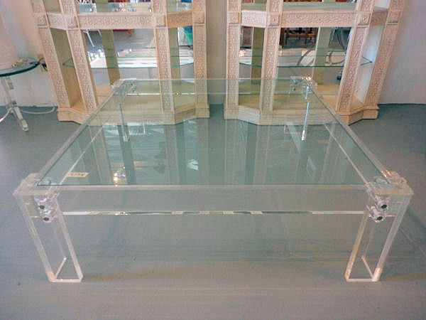 Square Lucite Coffee Table With Inset Glass Top From Circa Who In Florida Looks Just