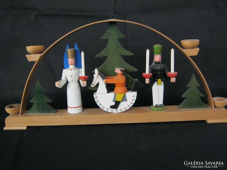 Régi fa karácsonyi gyertyatartó