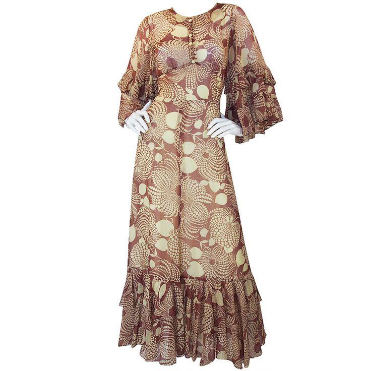 1stdibs   1960s Ruffled Gina Fratini Maxi Dress