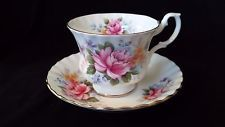 "Royal Albert ""Summertime Series"" Rose Bouquet Footed Cup and Saucer"