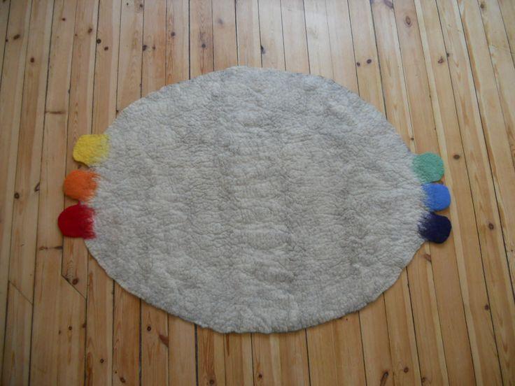 Felted Rug,  Round wool rug, Rug natural brown, Natural white melange wool, Home decor, Kids room felt rug/mat, by BuriFelt on Etsy