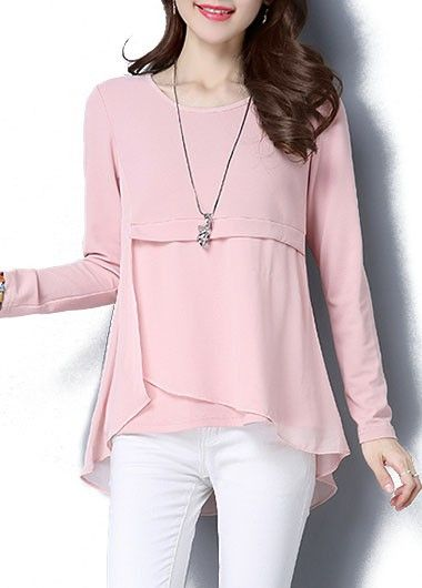 Asymmetric Hem Pink Long Sleeve Blouse on sale only US$28.27 now, buy cheap Asymmetric Hem Pink Long Sleeve Blouse at lulugal.com