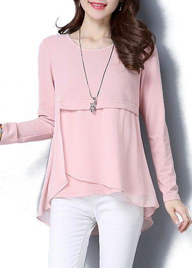 Asymmetric Hem Pink Long Sleeve Blouse on sale only US$28.27 now, buy cheap Asymmetric Hem Pink Long Sleeve Blouse at liligal.com