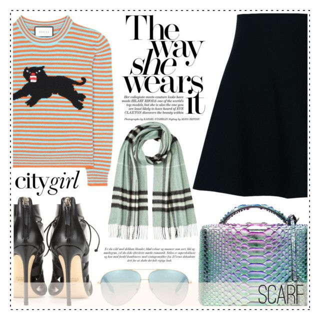 """The way she wears it"" by alaria ❤ liked on Polyvore featuring Dorothee Schumacher, Mark Cross, Francesco Russo, Gucci, Victoria Beckham, Burberry, stripes, skirts, plaid and scarves"