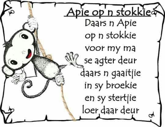 Afrikaans - apie op n stokkie