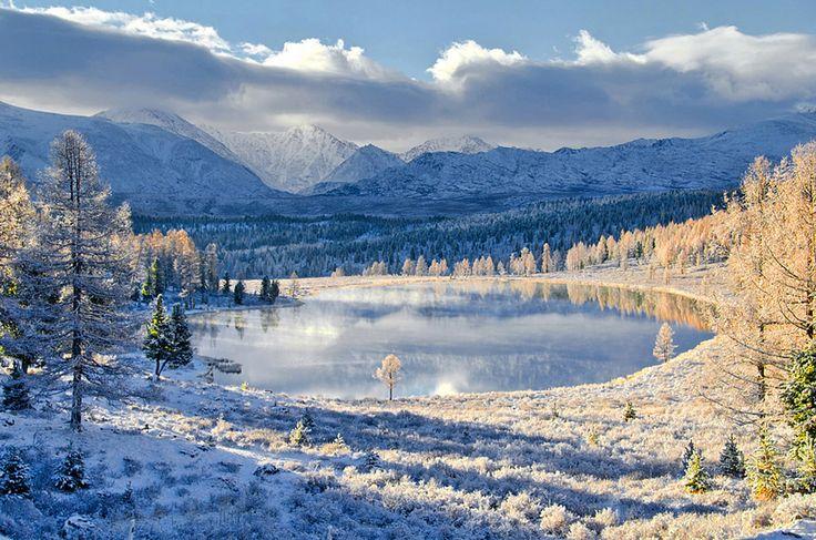 Lake Kedelyu after fresh snow. Altai, Siberia, Russia. by Svetlana Shupenko .