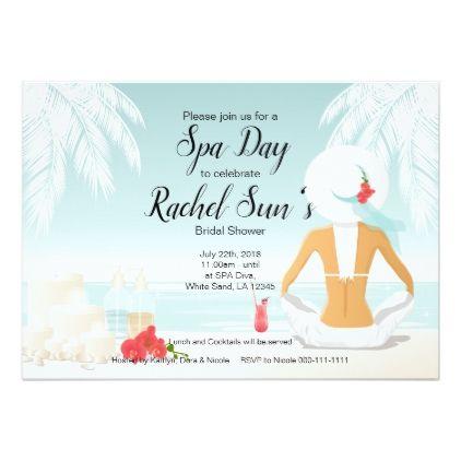 spa day bridal shower invitation in 2018 bachelorette party