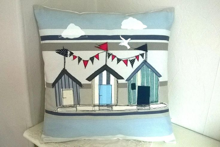 Excited to share the latest addition to my #etsy shop: Lighthouse Cushion Cover, Nautical Cushion cover, Seaside Nautical Cover. Appliqued Cover http://etsy.me/2nF65E1 #housewares #pillow #blue #cotton #patiooutdoor #striped #square #coveronly #lighthouse