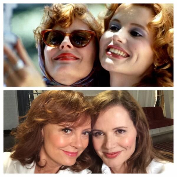 Thelma & Louise (a.k.a. Geena Davis & Susan Sarandon) reunite for a new #selfie, 23 years after they invented the 'genre' ⊹