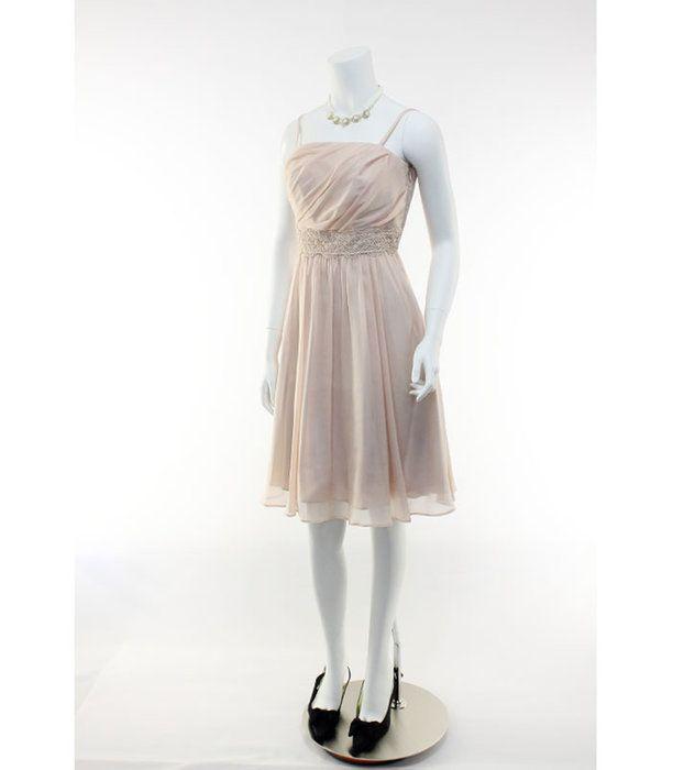 フォーマルドレスお呼ばれ結婚式二次会ドレスワンピースパーティードレスアウトレット オーバースカート付きアレンジドレス13号(ピンクベージュ)