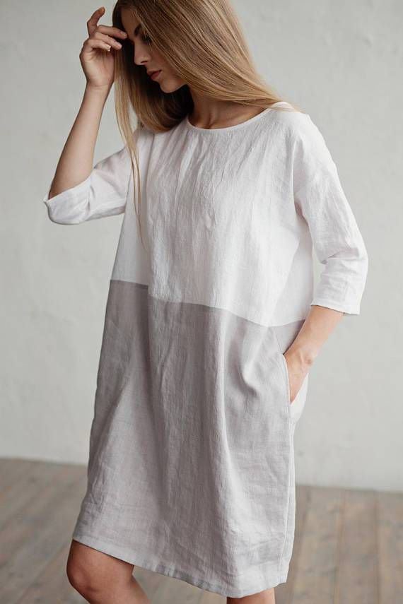 Loose fit Stonewashed linen dress. Color block dress. White and gray linen tunic.