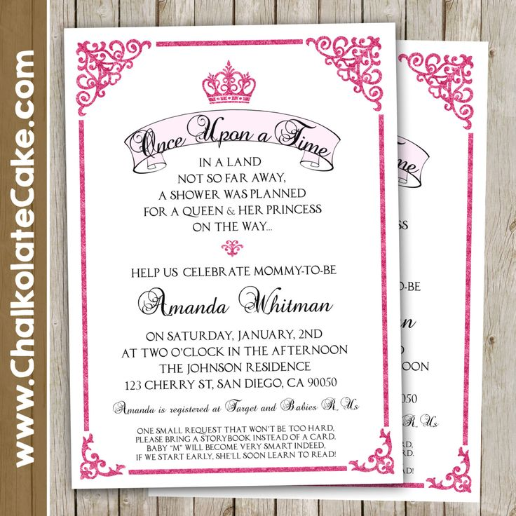 ROYAL Baby Shower Invitation - Once Upon a Time Princess Fairytale Storybook Pink Baby Shower Invite Printable 5x7 by ChalkolateCake on Etsy https://www.etsy.com/listing/255326143/royal-baby-shower-invitation-once-upon-a