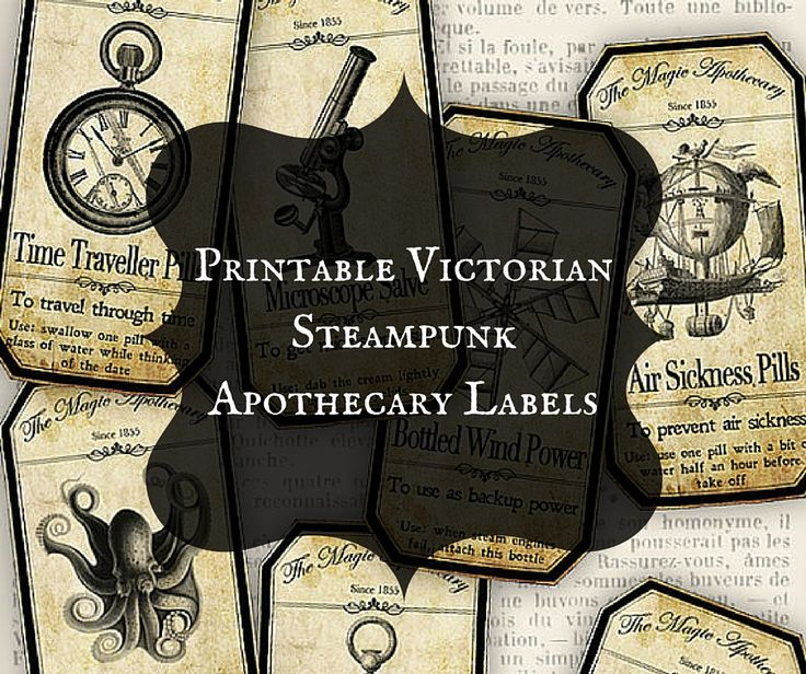 printable victorian steampunk apothecary labels - Victorian Halloween Decorations