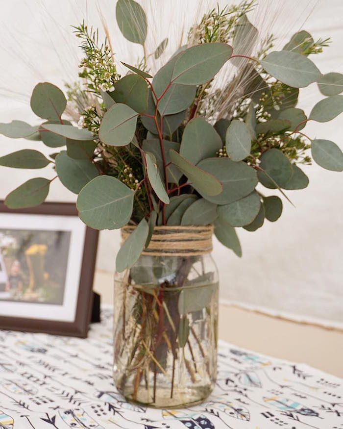 "Leaf floral arrangement from a ""Wild One"" Bohemian Birthday Party on Kara's Party Ideas | KarasPartyIdeas.com (7)"