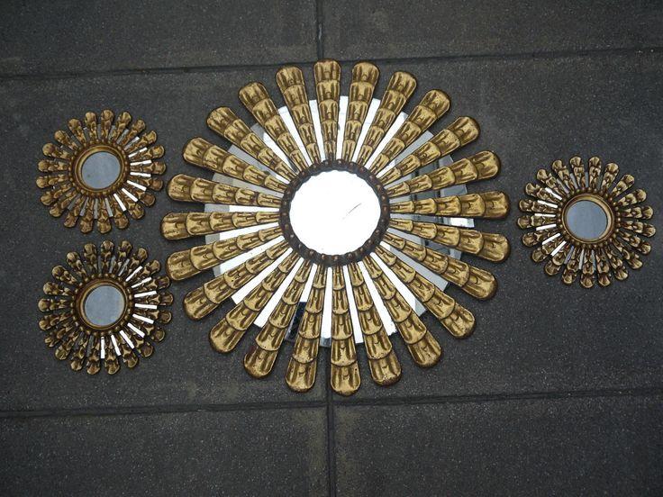 Lotto di 4 Specchio Genuine Gilt Big Sunburst Antico Specchietto intagliato dorato | eBay