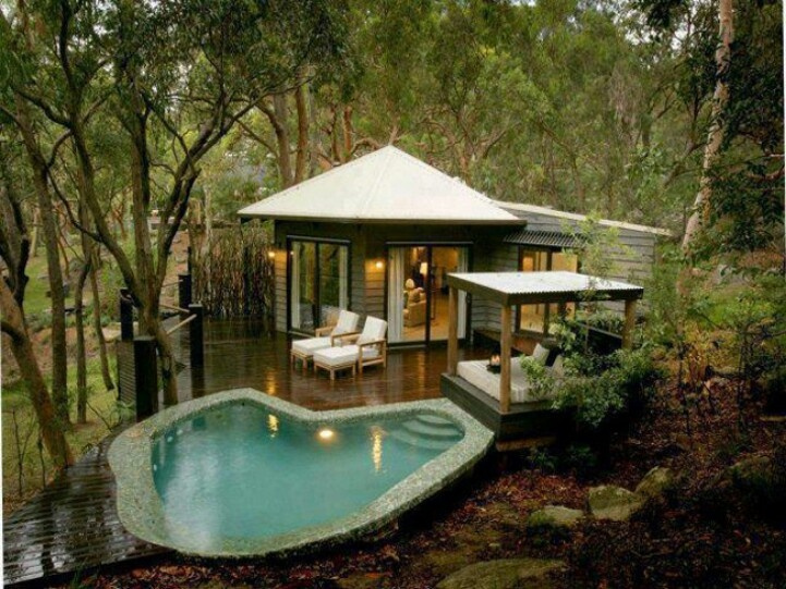 Private Get Away in your own backyard (this one is located in Australia found on myluxurylife.com) Finally found the perfect at home oasis. Now to decide which area of the 3 acre portion of wooded back yard would allow this perfect escape without disturbing mother nature.