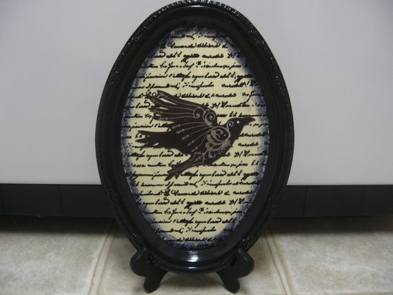 Halloween Decorations-Fall Decor-Halloween Decor-Goth Decor-Spooky Decor-Halloween Shelf Sitter-Halloween Tray-Quoth The Raven Nevermore