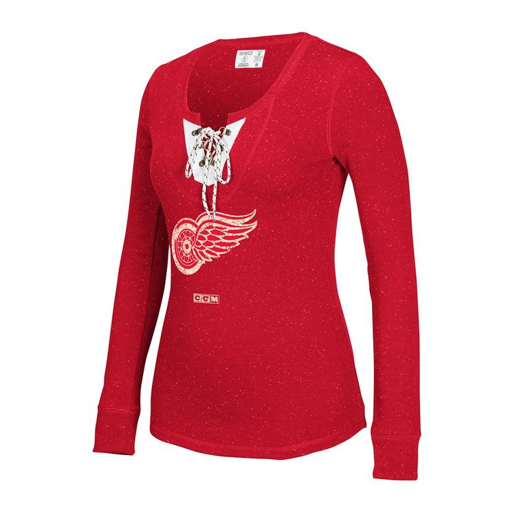 Women's CCM Detroit Red Wings Lace-Up Henley Tee, Size: Medium, Multicolor