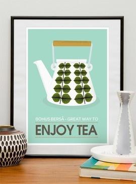 Stig Lindberg Bersa - Great Way to Enjoy Tea A2 modern artwork