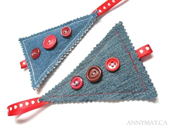 Recycled Denim Christmas Ornaments | Make this with materials you already have!