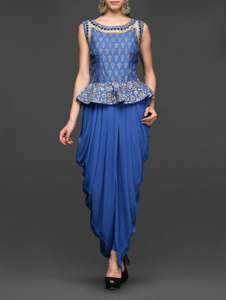 cobalt blue peplum dhoti inspired suit