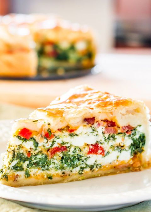 Deliver mom an oversized slice of this crusty breakfast bake stuffed with spinach, bacon, and red peppers. Ge the recipe at Jo Cooks.