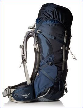 Osprey Aether 85 backpack: side view. Larry needs a large pack with medium belt.