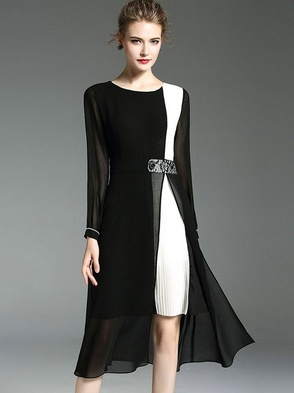 Contrast Color Block Mesh Elegant Midi Dresses 5