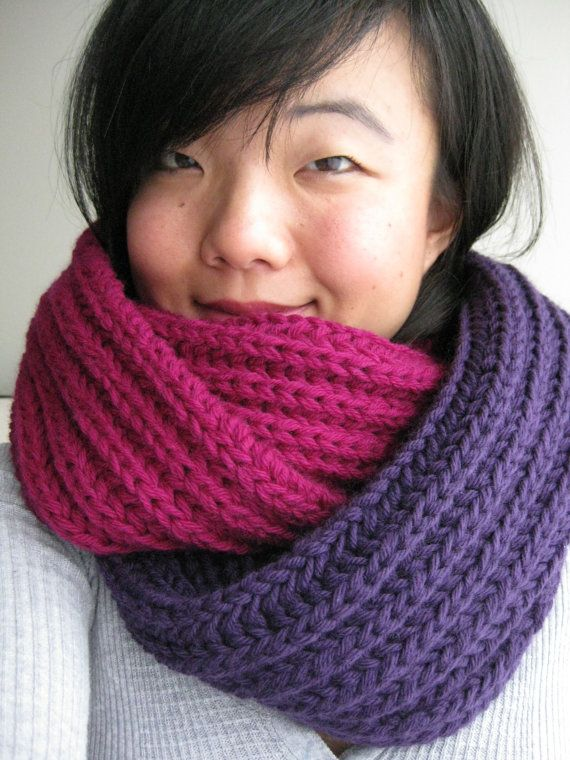 Huge Chunky Knit Cowl Long Infinity Circle by FuzzyCloudDesigns