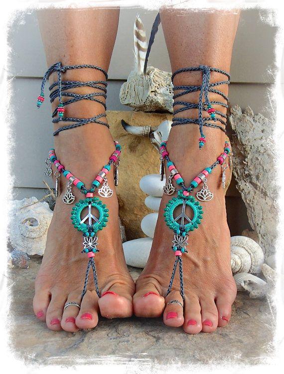 Lotus PEACE sign BAREFOOT sandals Peace symbol Love Mojo от GPyoga