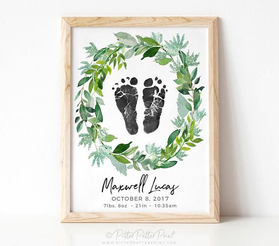 Boho Nursery Birth Announcement Wall Art, Bohemian Wreath Decor, Watercolor Personalized Baby Footprints Your Child's Feet 8×10 in UNFRAMED