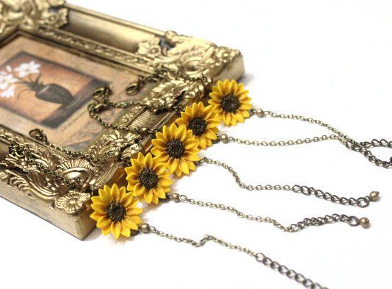 Yellow Sunflower Bracelet set of 5 Sunflower by NikushJewelryArt