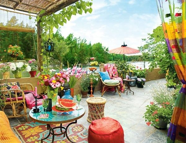 colorful bohemian terrace garden